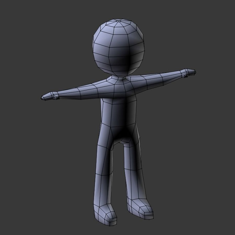 Low Poly Stickman royalty-free 3d model - Preview no. 9