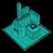 Hologram city 3d model