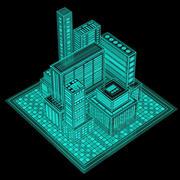 Hologramm-Stadt 3d model