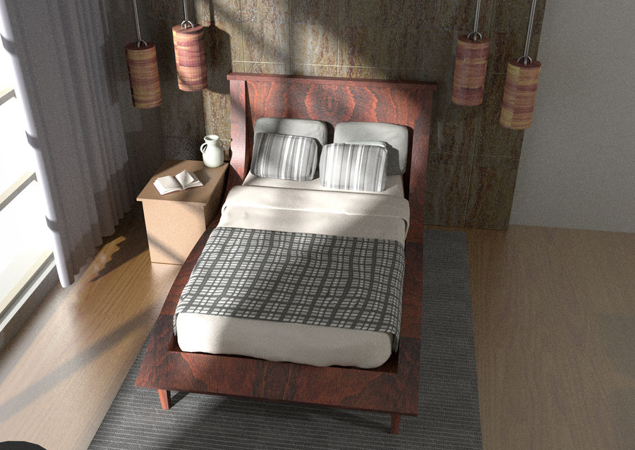 Современная спальня royalty-free 3d model - Preview no. 2