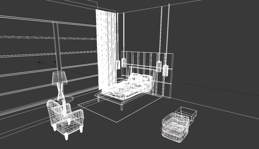 Modern bedroom royalty-free 3d model - Preview no. 6