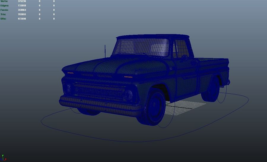 vintage truck royalty-free 3d model - Preview no. 11