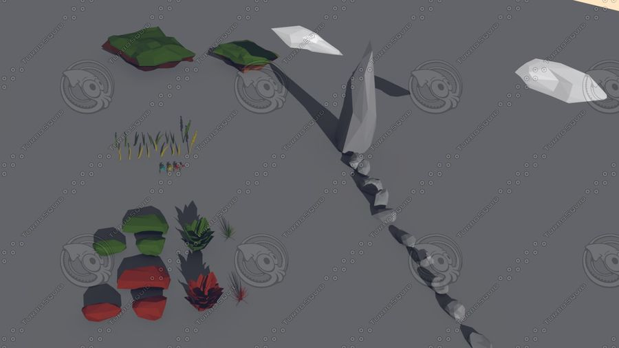 Pack Forêt LowPoly royalty-free 3d model - Preview no. 4
