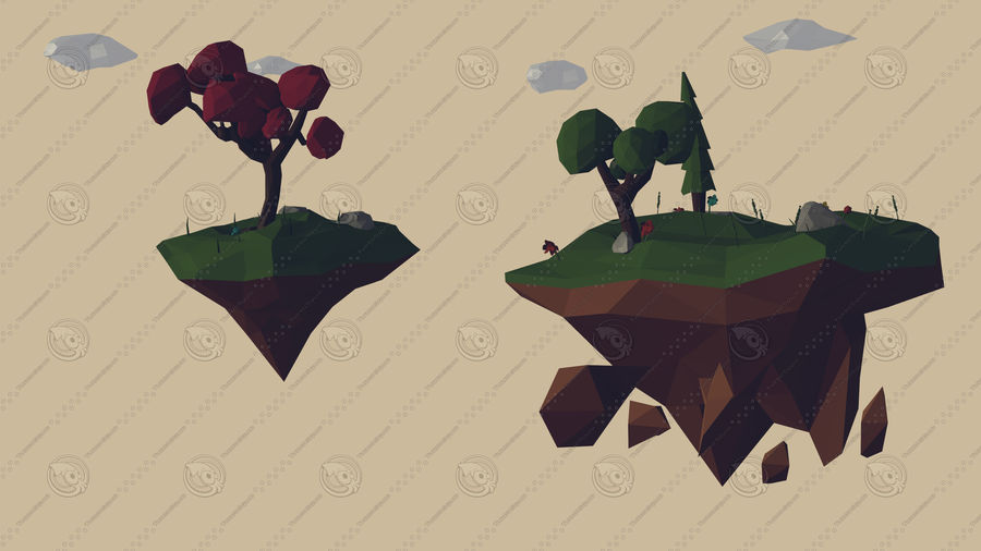 Pack Forêt LowPoly royalty-free 3d model - Preview no. 2