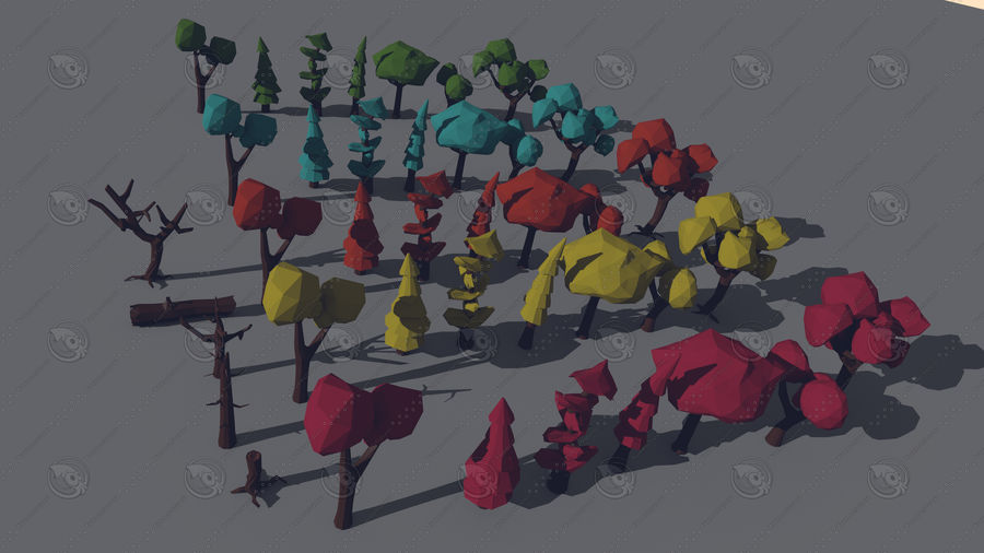 Pack Forêt LowPoly royalty-free 3d model - Preview no. 3