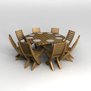 Octogon Patio Table 3d model