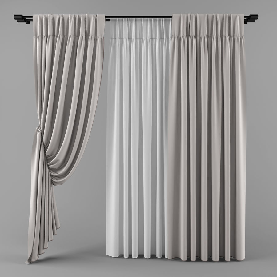 Curtains (tulle)blinds royalty-free 3d model - Preview no. 1