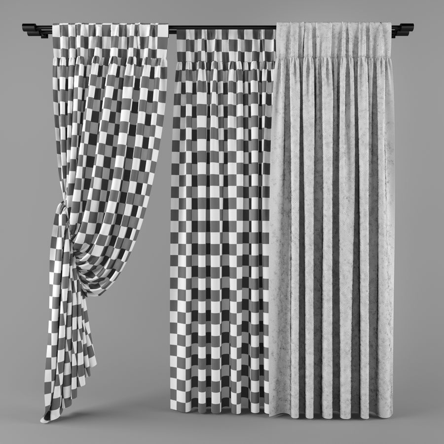 Curtains (tulle)blinds royalty-free 3d model - Preview no. 2
