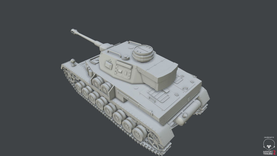Panzer IV (High Poly) royalty-free 3d model - Preview no. 2