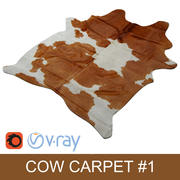 Kuhfell Teppich - Cow hide carpet Brown rug 3d model