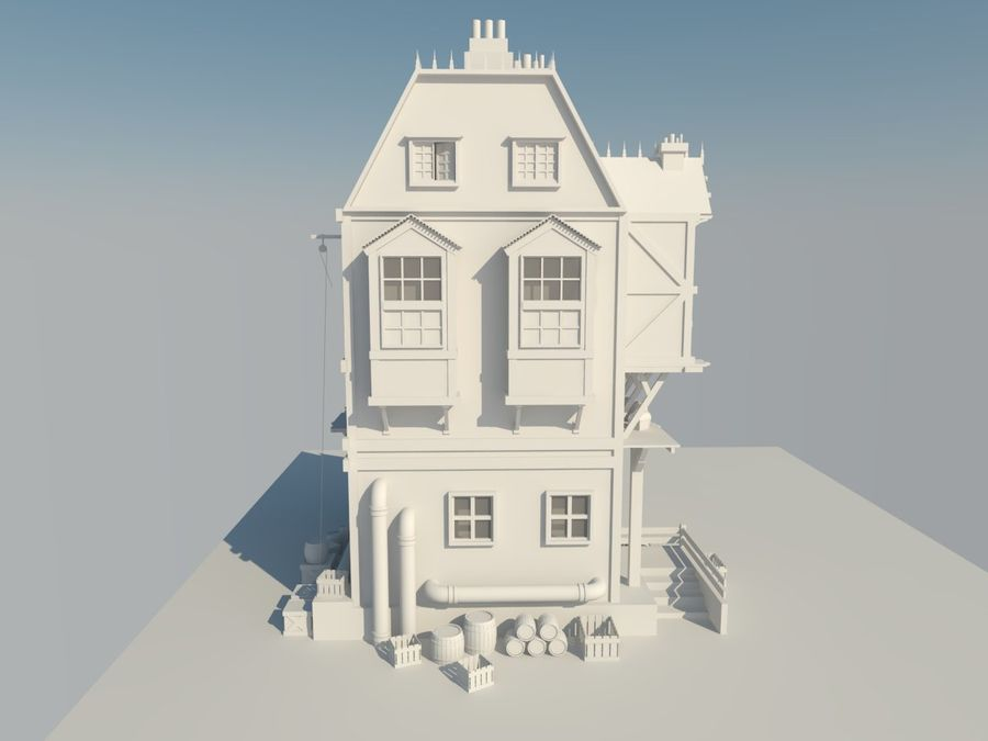 Medieval steampunk house royalty-free 3d model - Preview no. 8