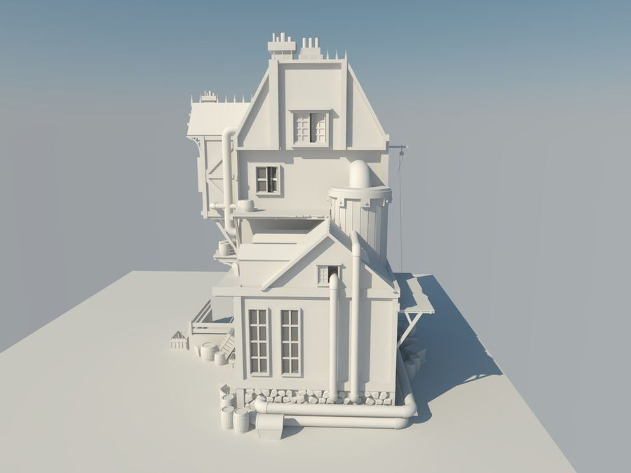 Medieval steampunk house royalty-free 3d model - Preview no. 6