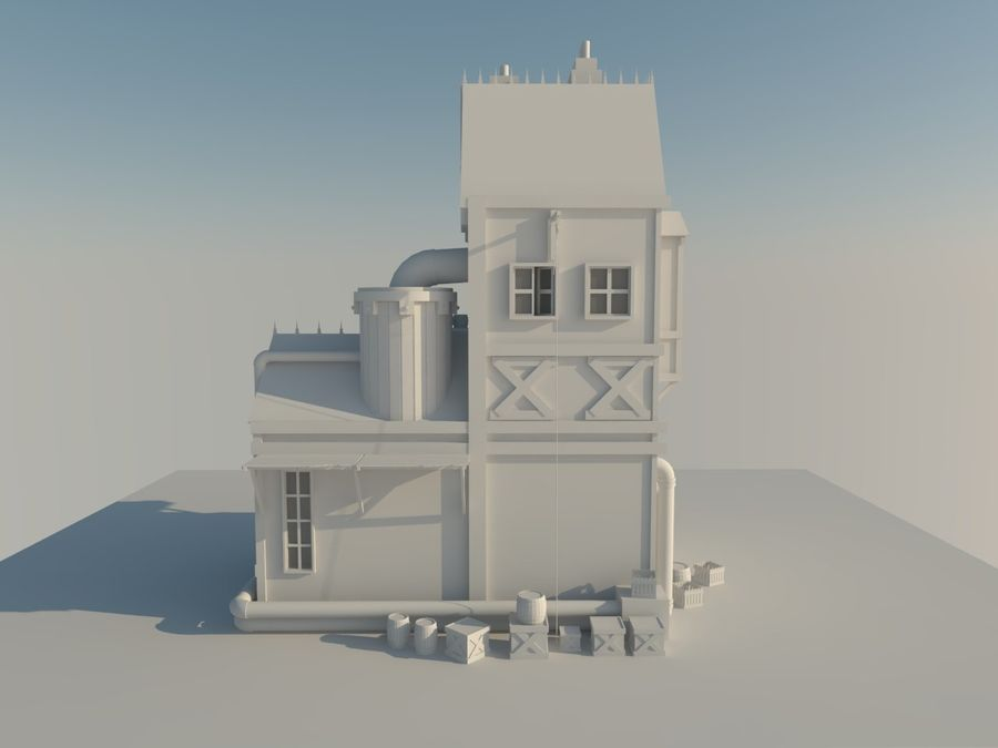 Medieval steampunk house royalty-free 3d model - Preview no. 9