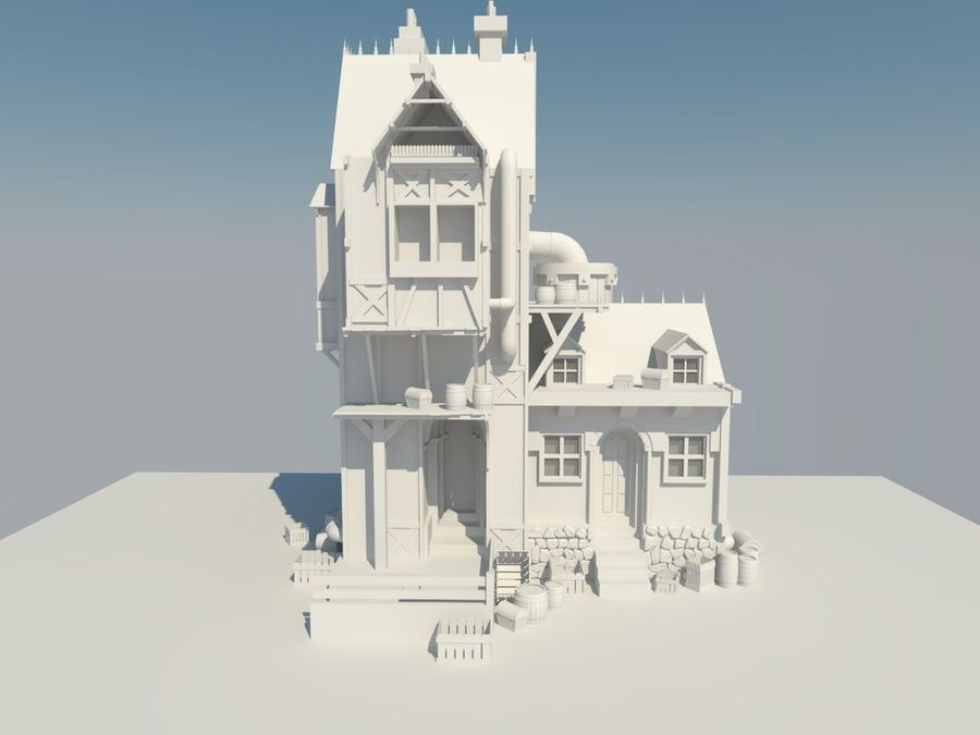 Medieval steampunk house royalty-free 3d model - Preview no. 2