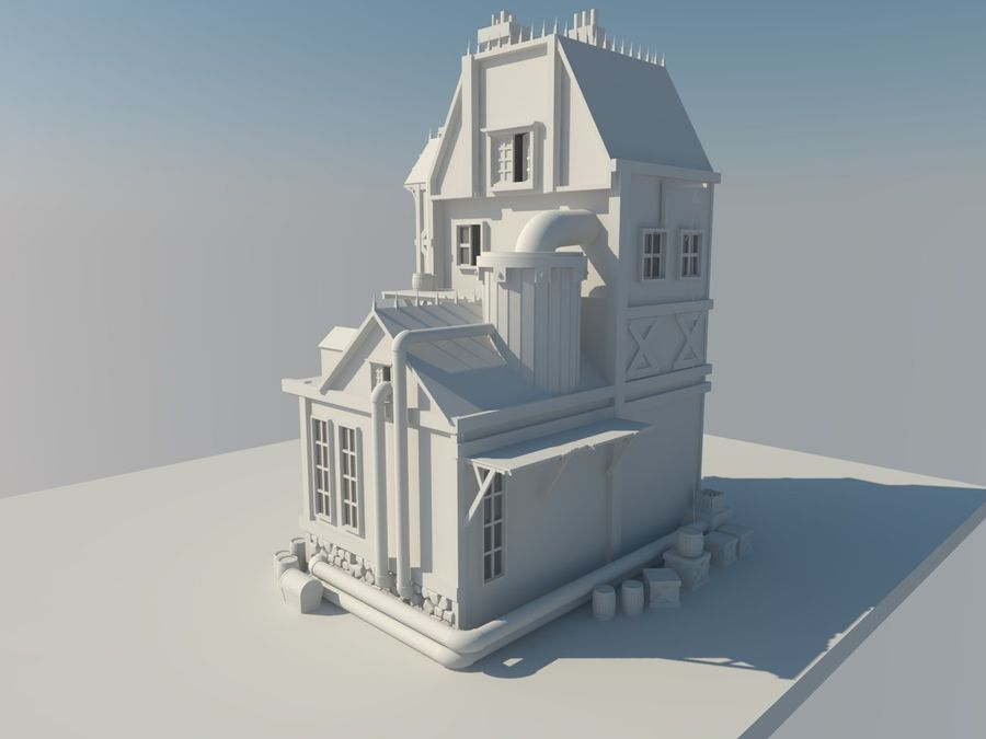 Medieval steampunk house royalty-free 3d model - Preview no. 5