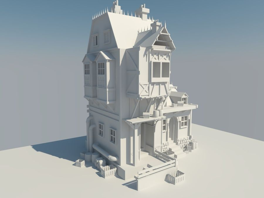 Medieval steampunk house royalty-free 3d model - Preview no. 3