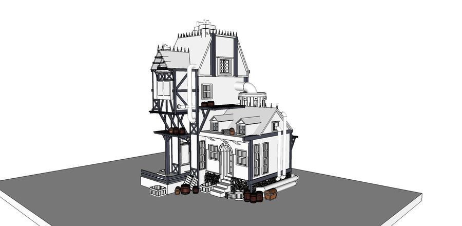 Medieval steampunk house royalty-free 3d model - Preview no. 11