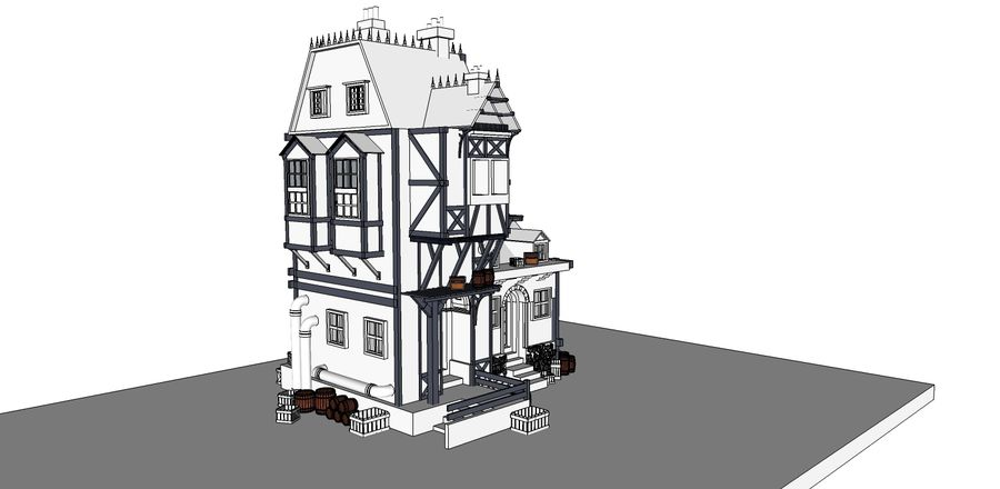 Medieval steampunk house royalty-free 3d model - Preview no. 12