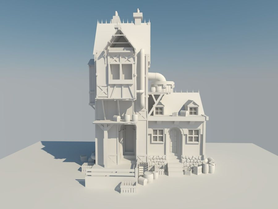 Medieval steampunk house royalty-free 3d model - Preview no. 7