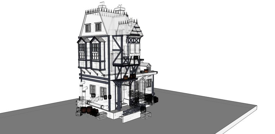 Medieval steampunk house royalty-free 3d model - Preview no. 10