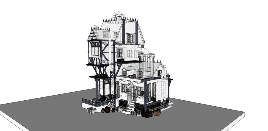 Medieval steampunk house royalty-free 3d model - Preview no. 13