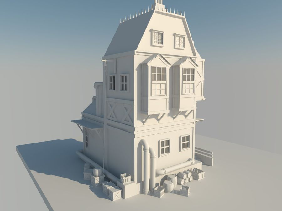 Medieval steampunk house royalty-free 3d model - Preview no. 4