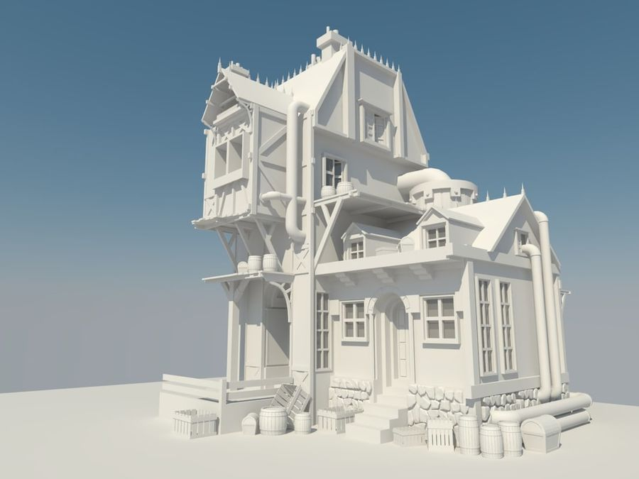 Medieval steampunk house royalty-free 3d model - Preview no. 1