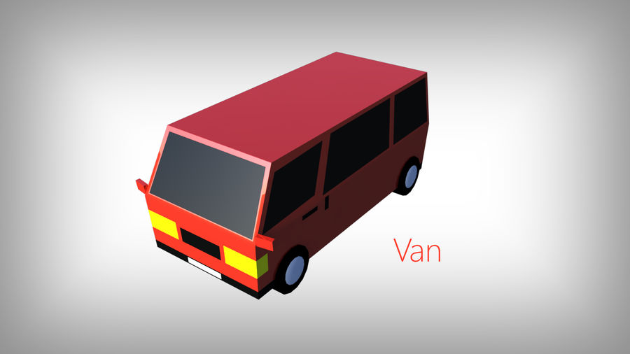 Pack de carros tipo Low Poly Toon com 10 + Veículos royalty-free 3d model - Preview no. 8