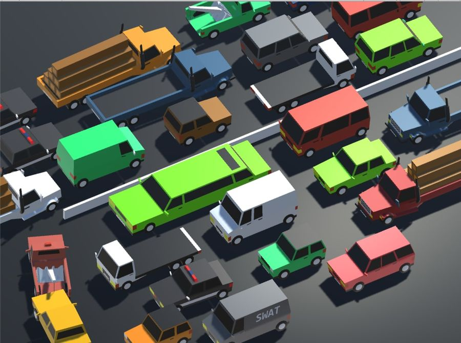 Pack de carros tipo Low Poly Toon com 10 + Veículos royalty-free 3d model - Preview no. 1