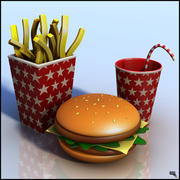Burger Menu Cartoon 3d model