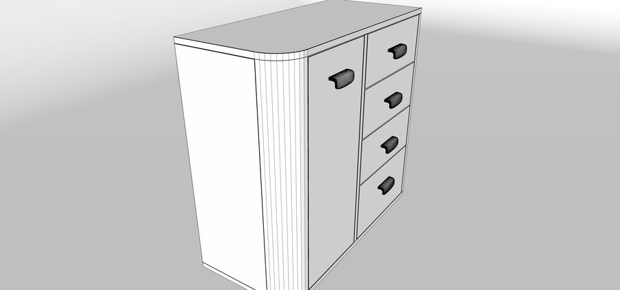 Dresser royalty-free 3d model - Preview no. 6