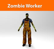 zombie worker low poly 3d model