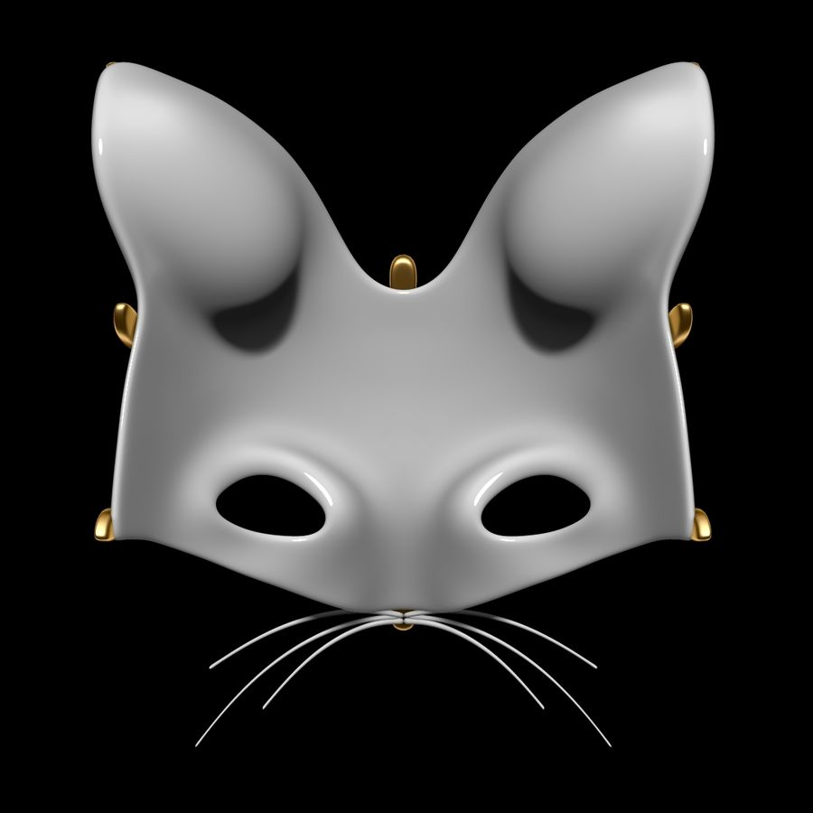 Cat mask royalty-free 3d model - Preview no. 4