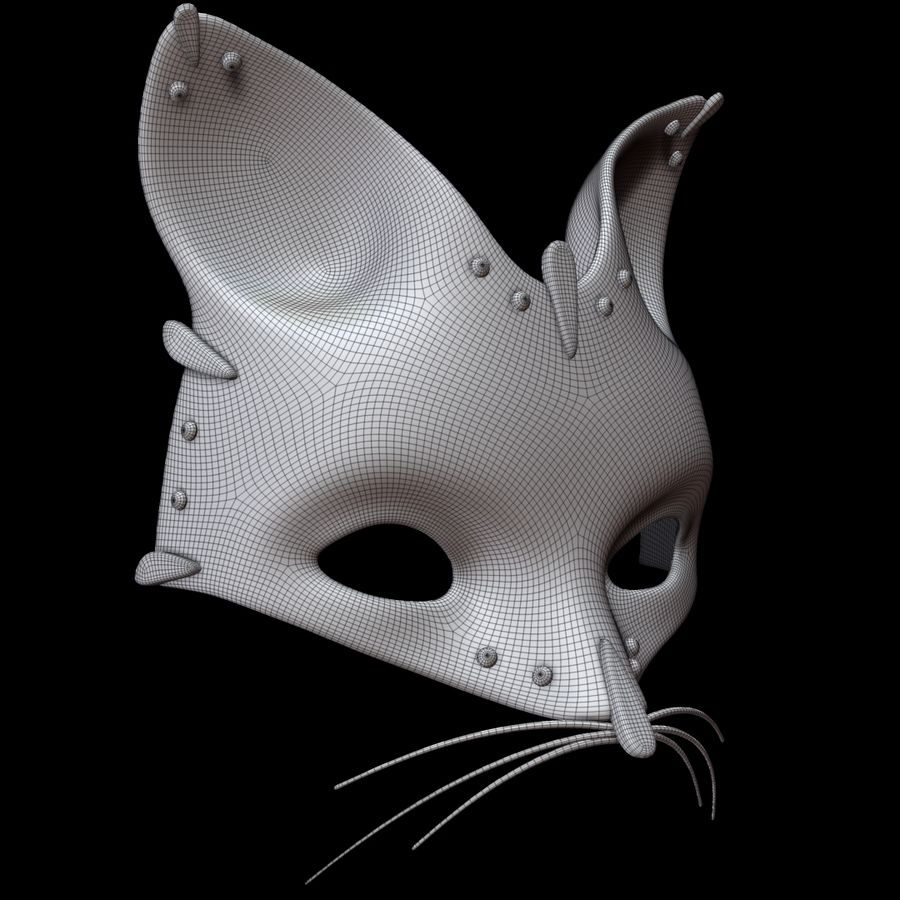 Cat mask royalty-free 3d model - Preview no. 9