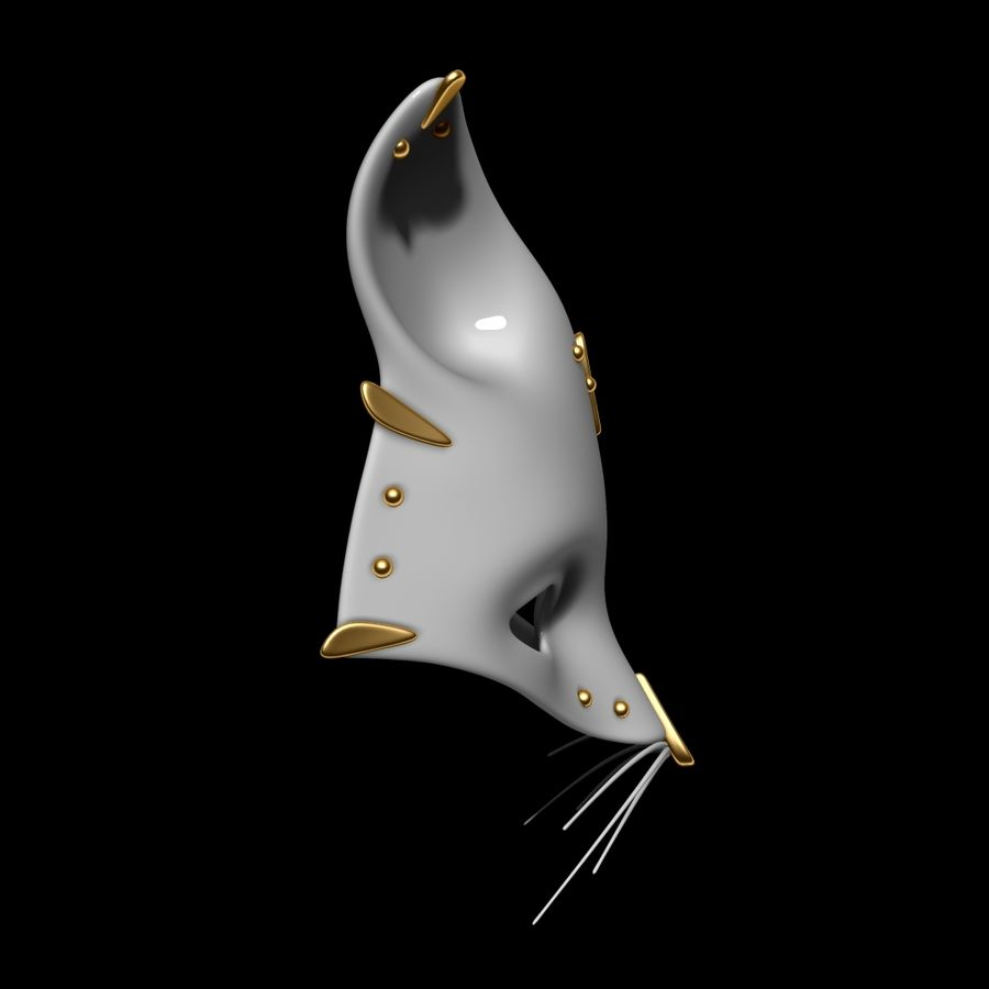 Cat mask royalty-free 3d model - Preview no. 3