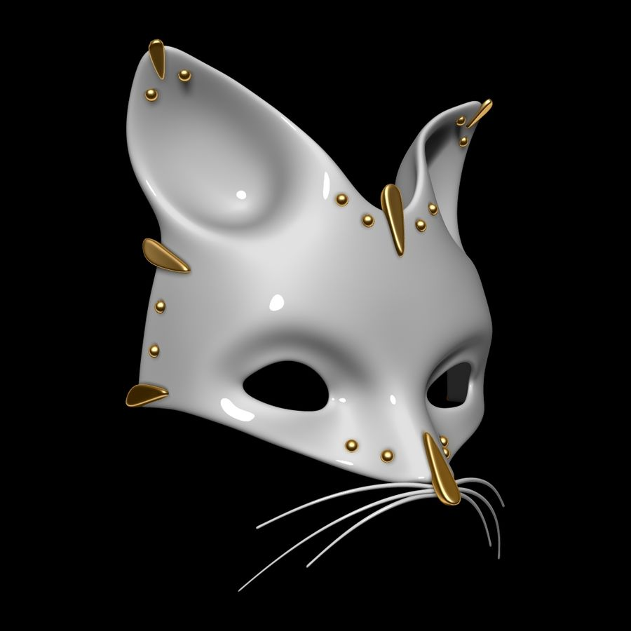 Cat mask royalty-free 3d model - Preview no. 2