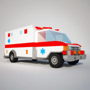 Ambulancia Low Poly modelo 3d