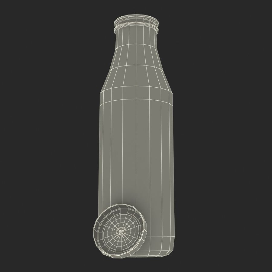 Milk Half Gallon Glass Bottle royalty-free 3d model - Preview no. 28