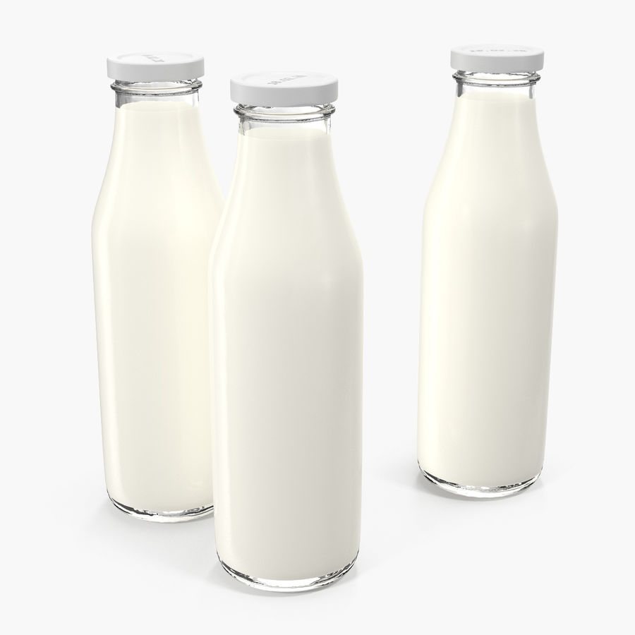 Milk Half Gallon Glass Bottle royalty-free 3d model - Preview no. 3