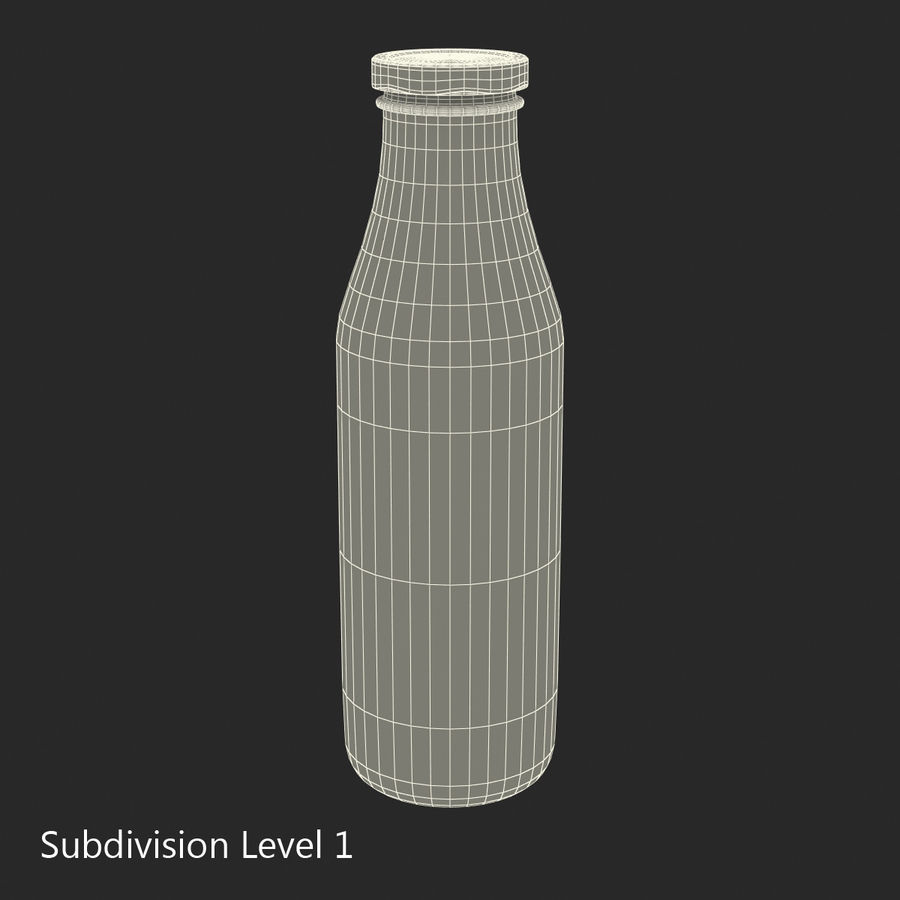 Milk Half Gallon Glass Bottle royalty-free 3d model - Preview no. 19