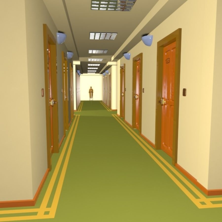 Cartoon Hotel Hallway royalty-free 3d model - Preview no. 1