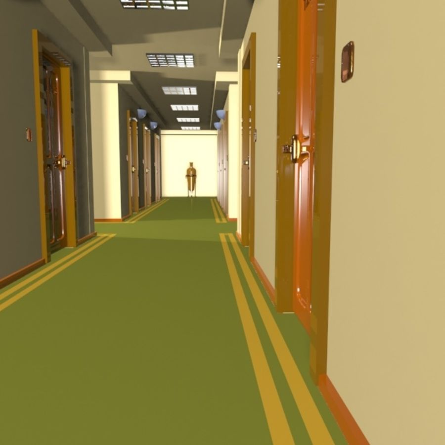 Cartoon Hotel Hallway royalty-free 3d model - Preview no. 4