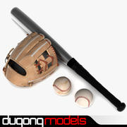 Pack di guanti da baseball 3d model