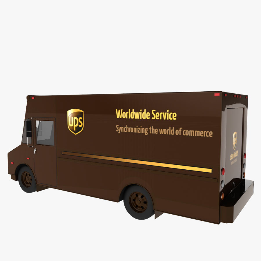 UPS Truck royalty-free 3d model - Preview no. 3