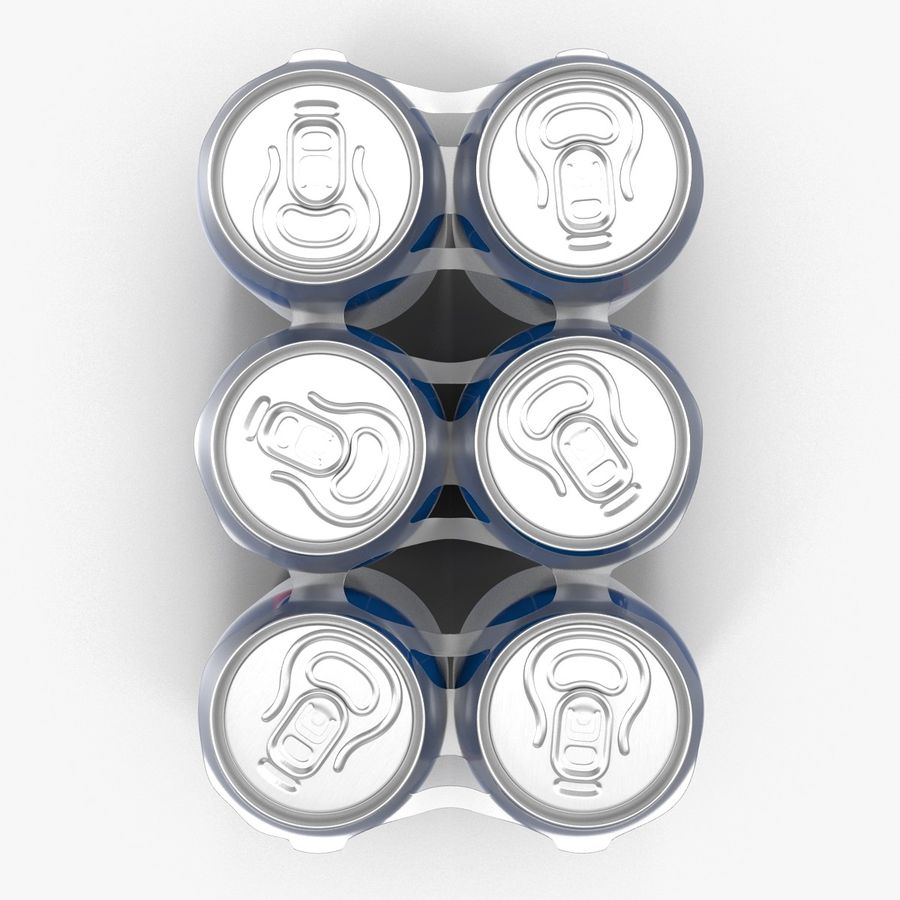 Six pack de canettes Pepsi royalty-free 3d model - Preview no. 10