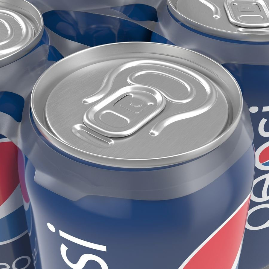 Six pack de canettes Pepsi royalty-free 3d model - Preview no. 15