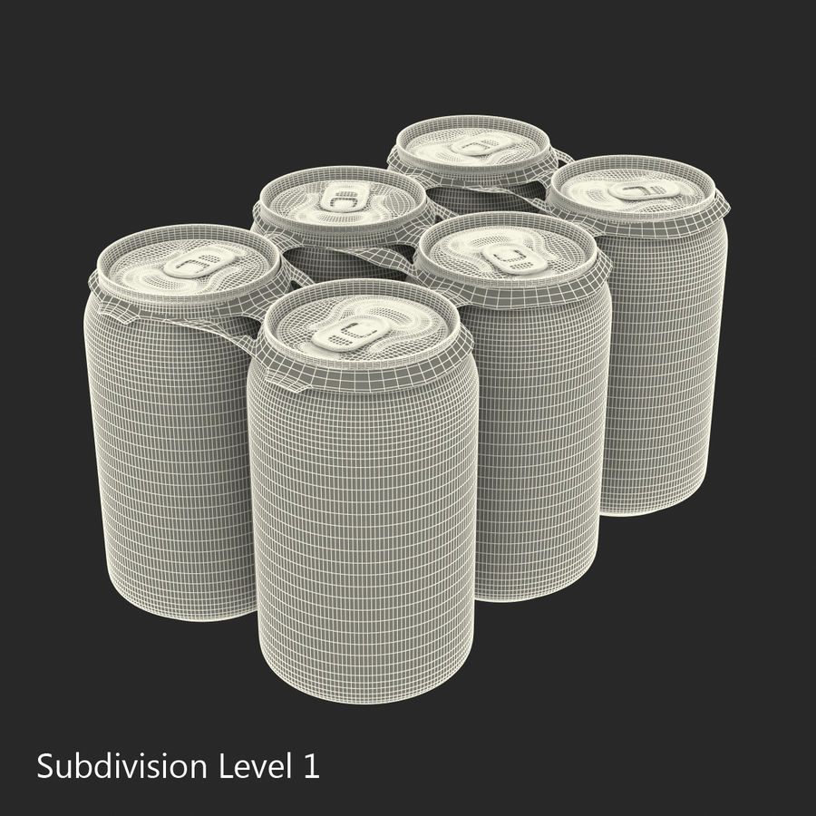 Six pack de canettes Pepsi royalty-free 3d model - Preview no. 17