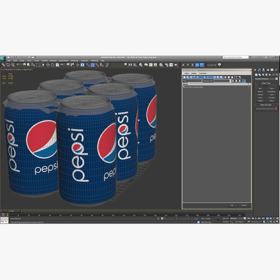 Six pack de canettes Pepsi royalty-free 3d model - Preview no. 20
