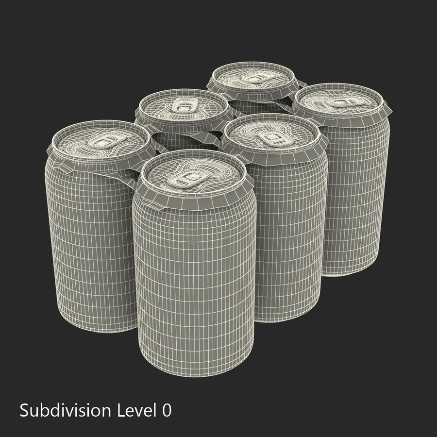 Six pack de canettes Pepsi royalty-free 3d model - Preview no. 16