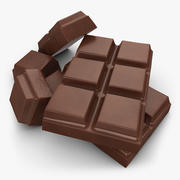 Cut Chocolate Bar (Milk) 3d model